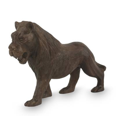 Realistic Hand Carved Ebony Lion Sculpture from Africa