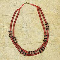 Bauxite beaded necklace, 'Bubune' - Bauxite and Recycled Beads Artisan Crafted Necklace