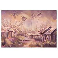 'Beauty in Ashes' - African Village Scene Painting in Acrylic on Canvas