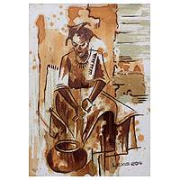 'Kitchen Dynamics' - Signed Acrylic on Canvas Portrait of Young Ghanaian Woman