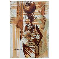 'First Fetch' - Signed Original Acrylic Painting of African Woman