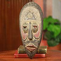 African wood mask, 'Kaa Foh II' - Original African Handcrafted Wood Wall Mask from Ghana
