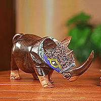 African beaded wood sculpture, 'Proud Rhino' - Unique Beaded Wood Rhinoceros Carving from Ghana