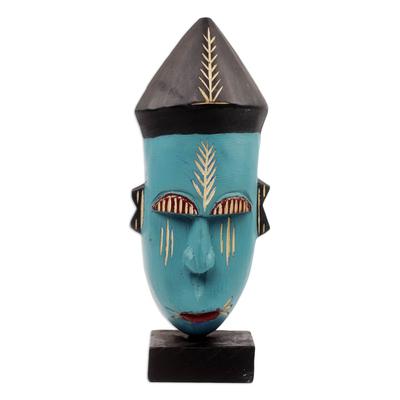 African wood mask, 'Asafo' - Handmade Wood African Warrior Mask Sculpture