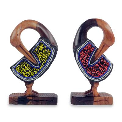 Beaded ebony wood sculptures, 'Sankofa Birds' (pair) - Hand Carved and Beaded Symbolic Bird Sculptures (Pair)