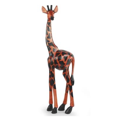 Wood sculpture, 'Proud Giraffe' - Fair Trade African Carved Wood Standing Giraffe Sculpture