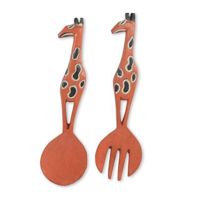 Wood wall adornments, 'West African Giraffe' (pair) - Giraffe Motif Wooden Spoon and Fork Wall Decor (pair)
