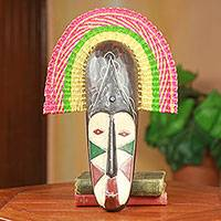 African wood and raffia mask, 'Rama I' - African Colorful Wood and Raffia Decorative Wall Mask