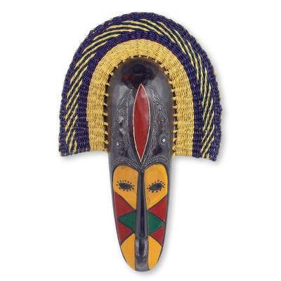 African wood and raffia mask, 'Rama II' - Hand Made African Mask with Wood and Raffia Accents
