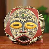 African wood mask, 'Ghanaian Star' - Round African Mask Hand Carved Original Wood Art