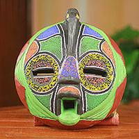 African beaded wood mask, 'Flamingo' - Unique Hand Beaded Colorful African Wood Mask Art