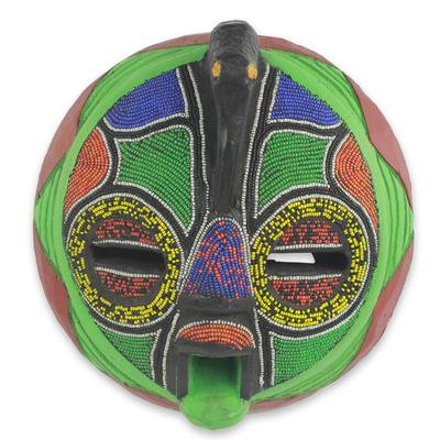 African beaded wood mask, 'Flamingo' - Unique Hand Beaded Colorful African Wood Mask Art