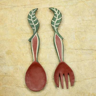 Wood wall adornments, 'Nourishment' (pair) - Hand Crafted African Wood Wall Art of Spoon and Fork (Pair)