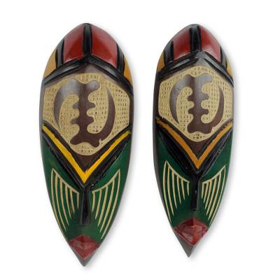 African wood masks, 'None But God' (pair) - Hand Carved and Painted Adinkra Symbol Masks (Pair)