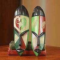 African wood masks, 'Haboki' (pair) - Red and Green Hand Made Wood African Masks (Pair)