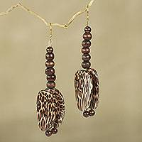 Beaded dangle earrings, 'Ayeyi'