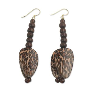 Beaded dangle earrings, 'Ayeyi' - Leopard Print Beaded Dangle Earrings Hand Made in Ghana