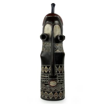 African wood mask, 'Tigari Healer' - Antiqued Tigari Style Hand Carved African Wood Mask