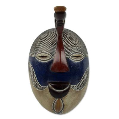 Handmade Congolese Wood Wall Mask with Bird Accent