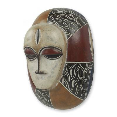 Ivoirian wood mask, 'Guro Shield' - Hand Carved and Painted Ivoirian Style Wood Art Mask