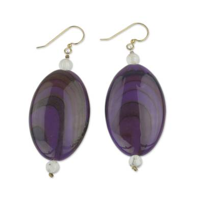 Beaded dangle earrings, 'Odopa in Plum' - Hand Made Purple and Maroon Plastic Dangle Earrings