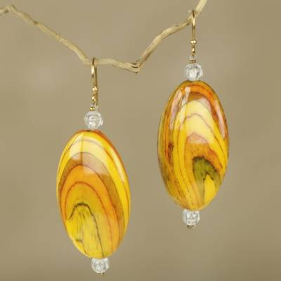 Beaded dangle earrings, 'Odopa in Yellow' - Fair Trade Yellow Recycled Plastic Earrings from Ghana