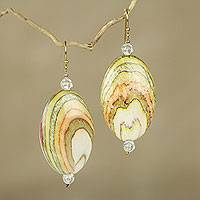 Beaded dangle earrings, 'Odopa in Cream' - Cream and Multicolor Eco Friendly Beaded Dangle Earrings