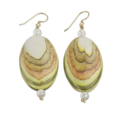 Cream and Multicolor Eco Friendly Beaded Dangle Earrings