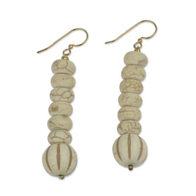 Cream Colored Agate Beaded Dangle Earrings from Ghana