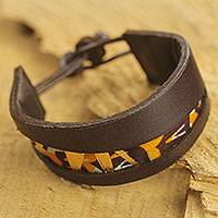 Men's leather and cotton bracelet, 'Golden Alchemy I' - African Handcrafted Men's Leather and Cotton Bracelet