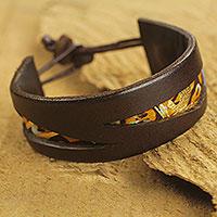 Men's leather and cotton bracelet, 'Golden Alchemy II' - Cotton and Leather Wristband Bracelet for Men