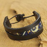 Men's leather and cotton bracelet, 'Blue Moon Alchemy' - Handcrafted African Leather and Cotton Men's Bracelet
