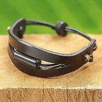 Men's leather and horn bracelet, 'Hidden Treasure in Black' - African Style Men's Bracelet in Black Leather and Bull Horn