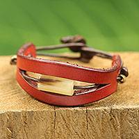 Men's leather and horn bracelet, 'Hidden Treasure in Red' - Handmade Men's Bracelet of Red Leather and Bull Horn