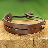 Men's leather bracelet, 'Perseverance in Brown' - Artisan Crafted African Brown Leather Bracelet for Men