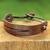Men's leather bracelet, 'Perseverance in Brown' - Artisan Crafted African Brown Leather Bracelet for Men