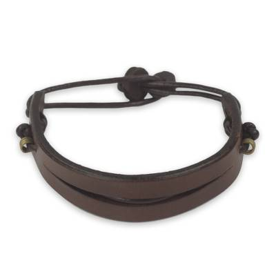 Artisan Crafted African Brown Leather Bracelet for Men