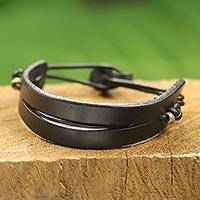Men's leather bracelet, 'Perseverance in Black' - Black Leather and Brass Men's Bracelet from Ghana