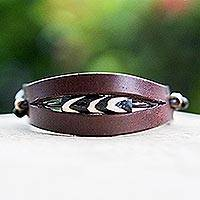 Men's leather and bone bracelet, 'Breaking Ground in Brown'