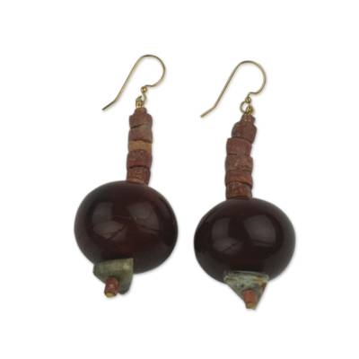 Beaded dangle earrings, 'Ohemaa Kese' - Unique Beaded Dangle Earrings Handmade in Ghana