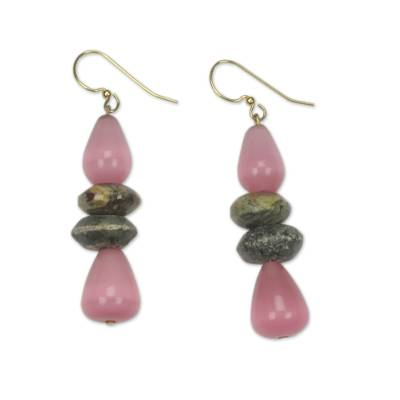 Beaded dangle earrings, 'Odefo' - Fair Trade African Beaded Earrings with Pink Cat's Eye