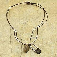 Leather and soapstone pendant necklace, 'Safari'
