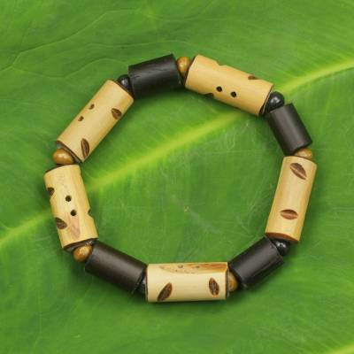 Bamboo and wood stretch bracelet, 'Bamboo Delight' - Handcrafted African Women's Bracelet with Bamboo and Wood