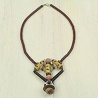 Bamboo and bone beaded necklace, 'Noble Earth' - African Beaded Necklace Hand Made with Bamboo and Bone