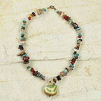 Agate pendant necklace, 'Praises' - Handcrafted African Necklace with Colorful Agates