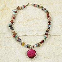 Agate beaded necklace, 'Magenta Aseye' - Multicolored Agate Beaded Necklace with Recycled Pendant