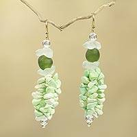 Beaded earrings, 'Agbenyega' - Green Beaded Earrings from Africa Fair Trade Jewelry