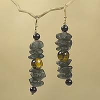 Amber beaded earrings, 'Akorfa' - Artisan Crafted Amber Earrings with Recycled Glass Beads