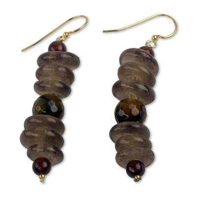 Amber African Earrings Crafted by Hand with Recycled Beads