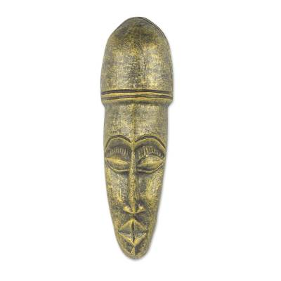 African Handmade Clay Decorative Mask with Golden Finish